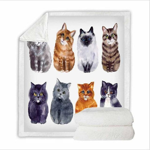 Lovely Cat Sherpa Blanket-Moon & Back-106-60in x 50in (152.4cm x 127.0cm)-Moon & Back