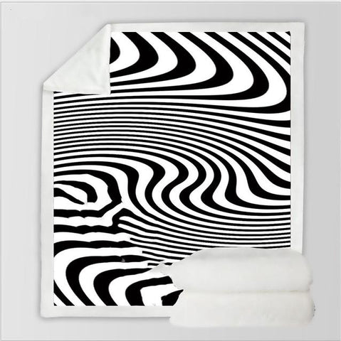 Psychedelic Dizziness Zebra Blanket-Moon & Back