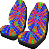 Rainbow Boho Ethnic Colourful Car Seat Protector, Print Car Seat Covers for Women, Girls-Moon & Back