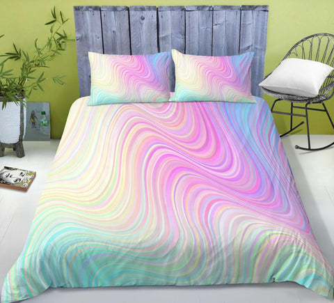 Rainbow Marble Abstract Art 3Pcs Bedding Set-Moon & Back