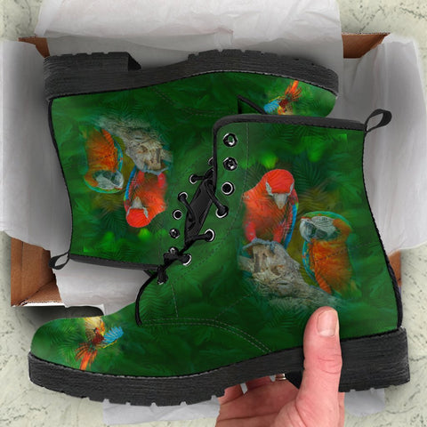 Rainbow Parrot Boots, Parrot Lovers Shoes, Outdoors Gift-Moon & Back