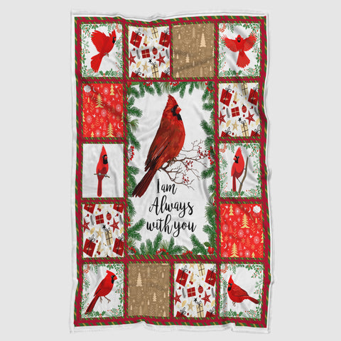 Red Cardinal I Am Always With You Christmas Blanket-Moon & Back
