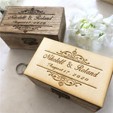 Retro Personalized Wedding/Anniversary Ring Box-Moon & Back-Retro Wooden-Moon & Back