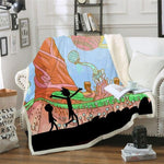 Rick and Morty 3D Printed Sherpa Blanket-Moon & Back-59x78.7 Inches-Moon & Back