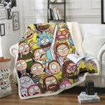 Rick and Morty 3D Printed Sherpa Blanket-Moon & Back-55.1x70.8 Inches-Moon & Back