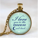Round Pendant Necklace - I Love You To The Moon and Back-Moon & Back-Design 5-Moon & Back