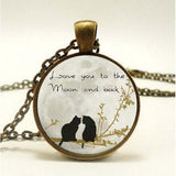 Round Pendant Necklace - I Love You To The Moon and Back-Moon & Back-Design 1-Moon & Back