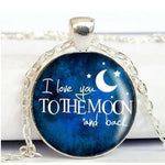 Round Pendant Necklace - I Love You To The Moon and Back-Moon & Back-Design 3-Moon & Back