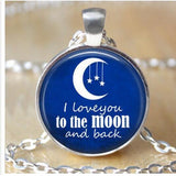 Round Pendant Necklace - I Love You To The Moon and Back-Moon & Back-Design 2-Moon & Back