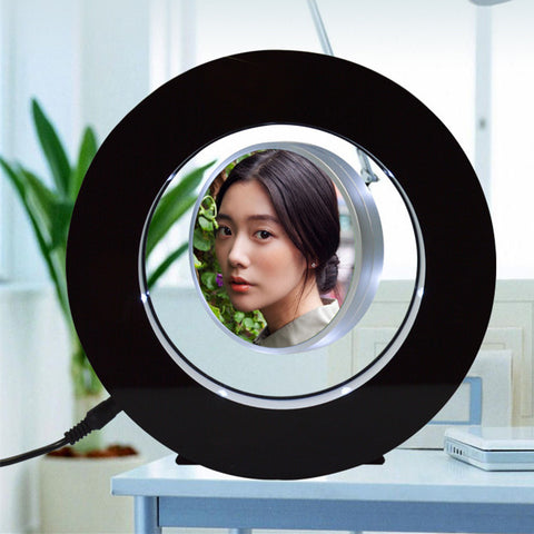 Round Shape Levitating Photo Frame With Led Lights-Moon & Back