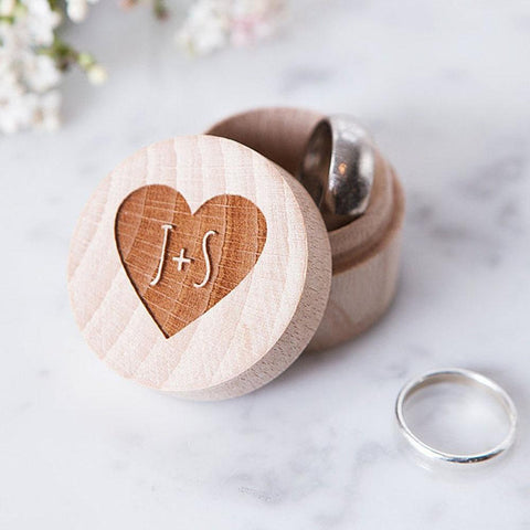 Rustic Heart Engraved Wedding Ring Holder-Moon & Back-Moon & Back