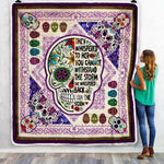 Skull Pattern Strong Girl Blanket, Slogan Blanket-Moon & Back