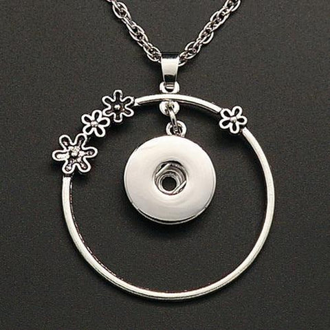 Snap Button Pendant Necklace - Flower-Moon & Back-Moon & Back