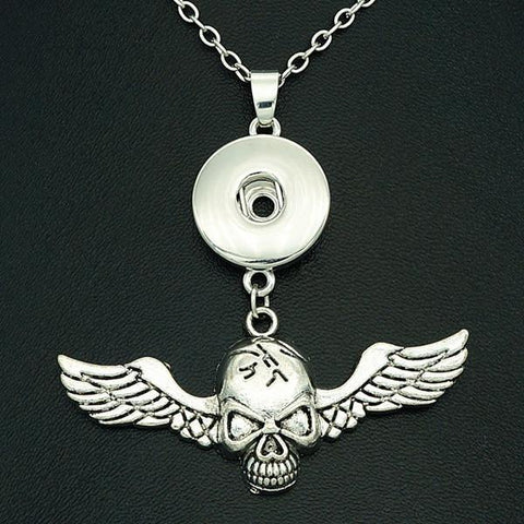 Snap Button Pendant Necklace - Skull Wings-Moon & Back-Moon & Back