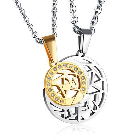 Sun and Moon Couple Pendant Necklace-Moon & Back-Gold-Moon & Back