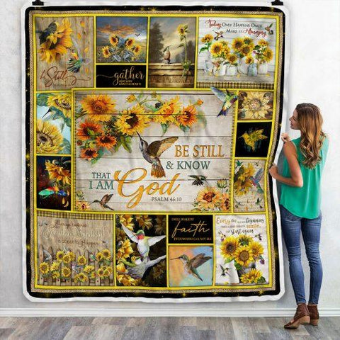 Sunflower And Bird Pattern Floral Blanket, Nature Lovers Gift-Moon & Back