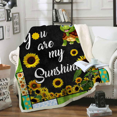 Sunflower Blanket, You Are My Sunshine Blanket, Gift for Her, Gift for Wife,Gift for Girlfriend,Blanket for Girlfriend, Blanket for Daughter-Moon & Back