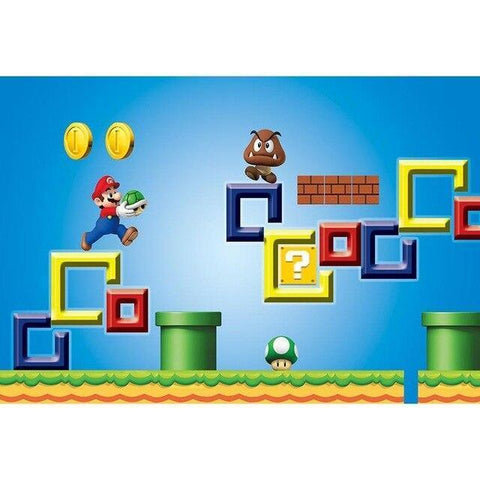 Super Mario Birthday Photography Backdrop Vinyl Banner-Moon & Back-118x118inch(300x300cm)-Brown-Vinyl-Moon & Back