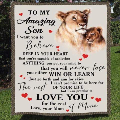 To My Amazing Son Lions Blanket, Mom to Son Blanket Gifts-Moon & Back