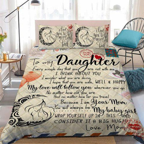 To My Daughter, From Mom To Daughter Duvet Cover Set, For My Dear Daughter Bedding Set NS1-Moon & Back