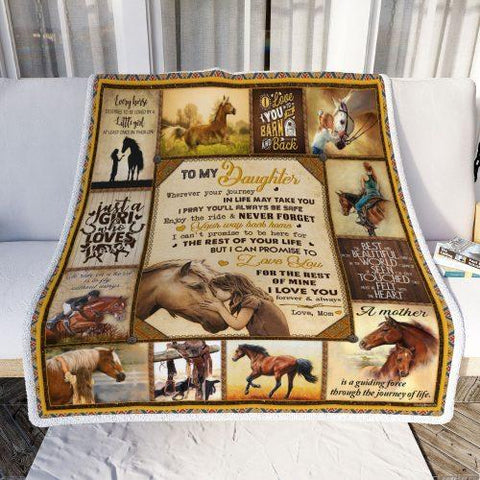 To My Daughter Horses Pattern Blanket, Horse Lovers-Moon & Back