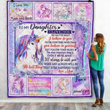 To My Daughter Unicorn Blanket, Unicorn Gift Blanket-Moon & Back