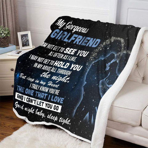 To My Girlfriend Couple Blanket, From Boyfriend to Girlfriend, Valentine's Day, Lovers Romantic Gift-Moon & Back