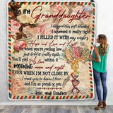 To My Granddaughter Letter Pattern Floral Blanket-Moon & Back