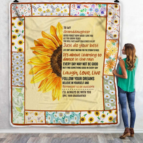 To My Granddaughter Sunflower Follow Your Dreams Blanket-Moon & Back