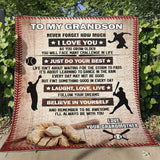 To My Grandson Believe In Yourself Blanket-Moon & Back-Youth 60in x 36in (152cm x 91cm)-Moon & Back