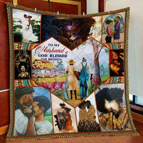 To My Husband Blanket,Black Married Couple, Long Marriage Gifts-Moon & Back