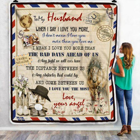 To My Husband Horse Pattern Letter Blanket From Wife-Moon & Back