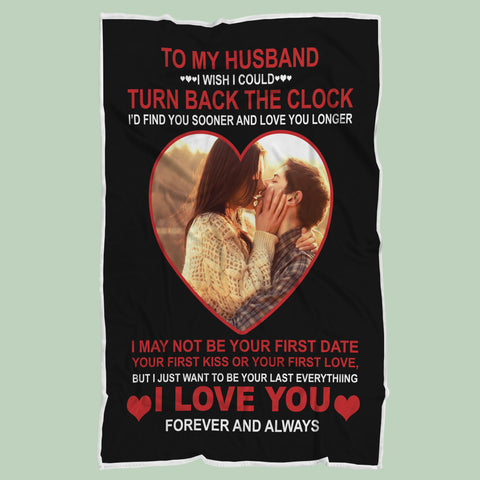 Personalized Wife to Husband Blanket, Couple's Anniversary Photo Gift-Moon & Back