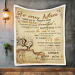 To My Man Deer Blanket, Blanket Gif For Couples-Moon & Back
