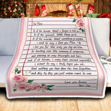 To My Mom Letter Christmas Blanket, Son To Mom Xmas Gift-Moon & Back