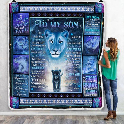 To My Son Blue Tiger Pattern Blanket, Son Gifts-Moon & Back