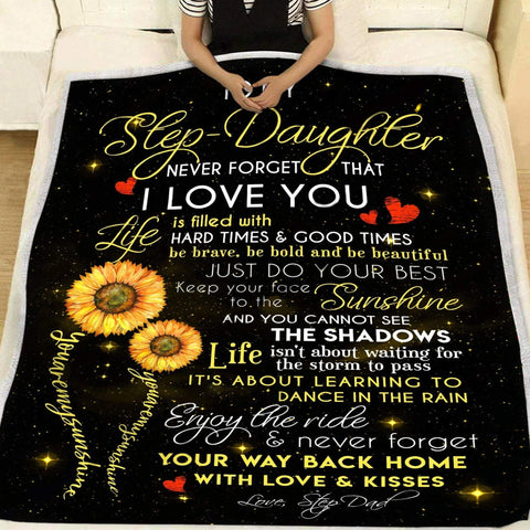 To Your Step Daughter Sunshine Blanket Gift- Floral Blanket for Mom, Floral Blanket-Moon & Back