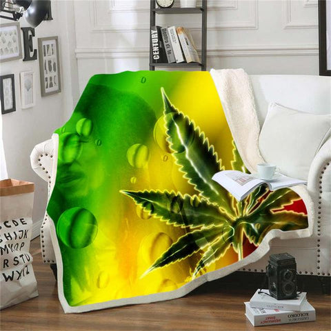 Trippy Weed Blunt Marijuana Cannabis Blanket-Moon & Back