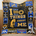 Trust Me I am an Engineer Quilt Blanket- Gift for Engineers -Occupation Specific - Coworker-Anniversary Gift for Her and Him-Moon & Back