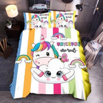 "Unicorn Cartoon Bedding Set-Moon & Back-USA TWIN-68"" x 86""-Moon & Back"