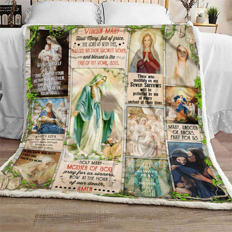 Virgin Mary Inspirational Red Bird Peace Blanket - Religious Gift for Anniversary- Wife Husband - BAPTISM- Lord- Christ - DG8054-Moon & Back