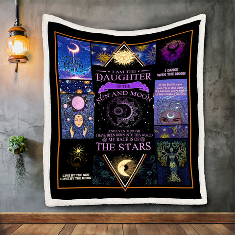 Wiccan Moon Blanket, Daughter of Sun and Moon Blanket-Moon & Back