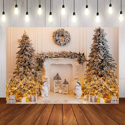 Winter Christmas Tree Backdrop-Moon & Back-Vinyl 90x60cm (3x2ft)-Moon & Back