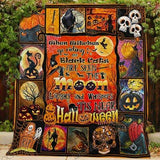 Witch And Pumpkin Pattern Halloween Blanket, Halloween Gifts-Moon & Back