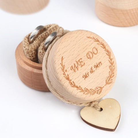 Wooden Engraved Engagement Ring Box-Moon & Back-A-Moon & Back