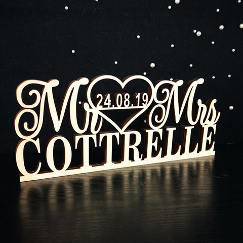 Wooden Wedding Table Sign with Last Name And Date-Moon & Back-Wooden-13.78 Inch (35 cm)-Moon & Back