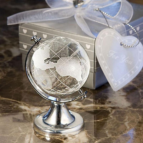 World Crystal Globe-Moon & Back-Gold-Moon & Back