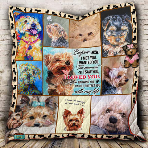 Yorkie Pattern Quilt Blanket- Pet Blanket-Blanket gift for Dog Lovers-Moon & Back