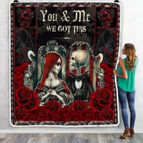 You And Me Skeleton Pattern Lovers Couple Blanket-Moon & Back
