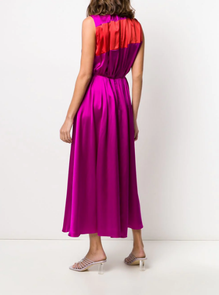 Pleated Colour Block Dress